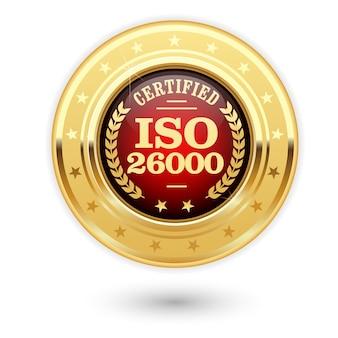 Iso 26000 gecertificeerde medaille - maatschappelijke verantwoordelijkheid