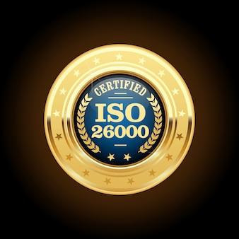 Iso 26000-standaardmedaille - maatschappelijke verantwoordelijkheid