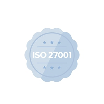 Iso 27001-norm, vectorbadge op wit
