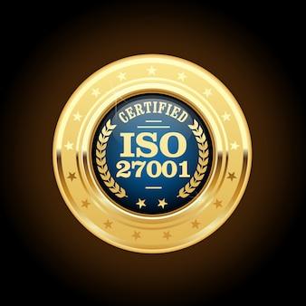 Iso 27001-standaardmedaille - beheer van informatiebeveiliging