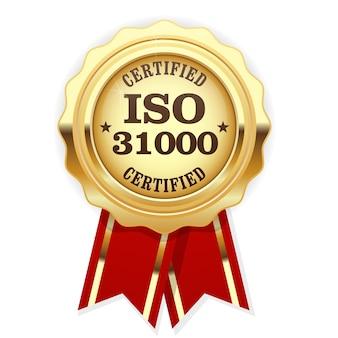 Iso 31000-norm gecertificeerd rozet - risicobeheer