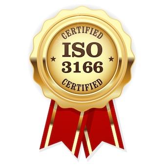 Iso 3166 standaard gecertificeerde medaille met rood lint