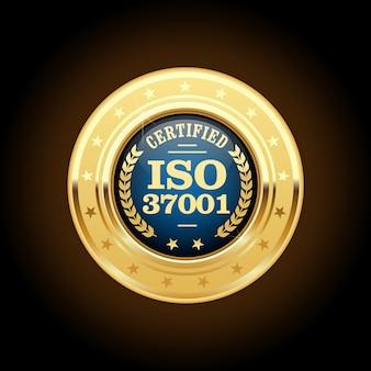 Iso 37001-standaard gecertificeerde medaille
