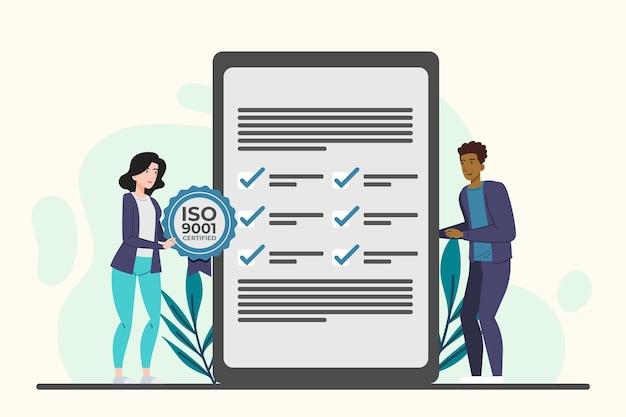 Iso 9001-certificering met bladeren
