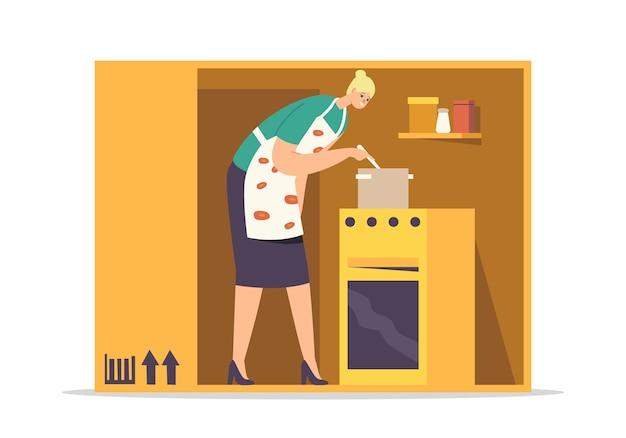 Isolatie of introversie concept. kokende maaltijd met vrouwelijk personage in een krappe kamer
