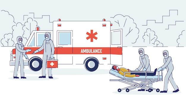 Isolatie van geïnfecteerde patiënten concept ambulancebrigade in beschermende overall