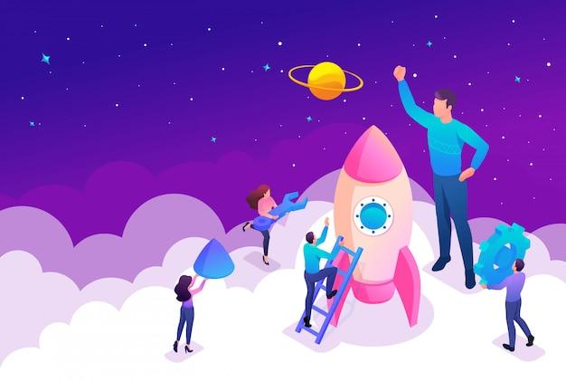 Isometric bright concept start een nieuw bedrijf door jonge ondernemers.