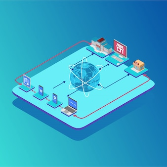 Isometric connections map of crypto currency-bedrijven