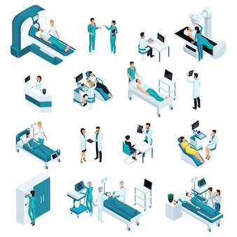 Isometrics geneeskunde, kwaliteitsmensen. reanimatie, artsen, medische hulpverleners. inclusief operatietafel, röntgenscanner, anesthesieapparaat en andere apparatuur