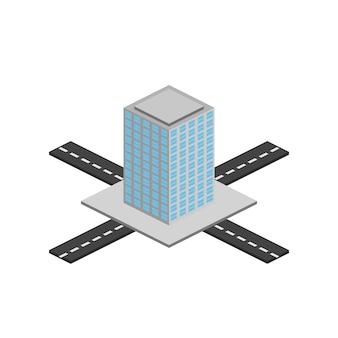 Isometrie de afbeelding toont een omvangrijke wolkenkrabber, een huis, een wolkenkrabber, een hotel. alle objecten zijn getekend in isometrie. beeld.