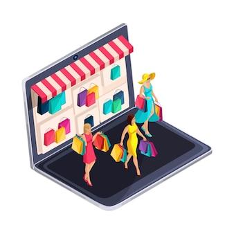 Isometrie van een meisje, fashionista, online winkelen. modieuze meisjes met aankopen komen thuis. mooi helder concept met het kopen van kleding, kleding schoenen sieraden