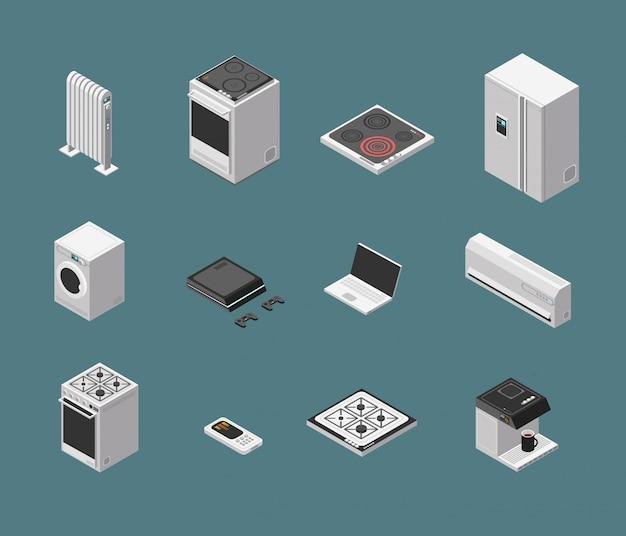 Isometrisch 3d huishoudenkeukenapparaat en elektromateriaal geïsoleerde vectorreeks