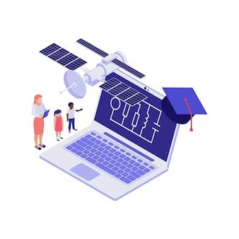 Isometrisch 3d onderwijsconcept met laptopillustratie