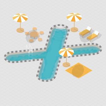 Isometrisch 3d zwembad alfabet x