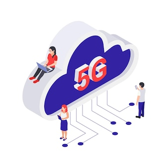 Isometrisch 5g internet cloud computing isometrisch concept met kleine mensen die apparaten gebruiken 3d vectorillustratie