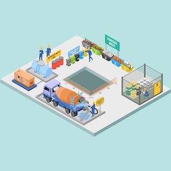 Isometrisch afval en huishouding in bouwmanagement