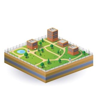 Isometrisch beeld van een fragment van de stad op een witte achtergrond