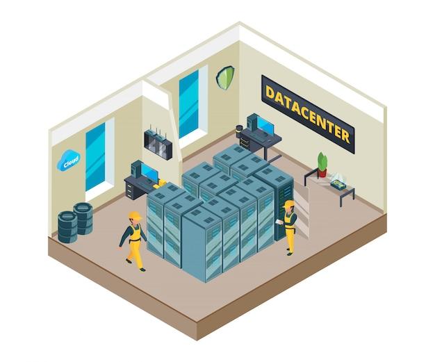 Isometrisch beeld van het interieur van datacenter