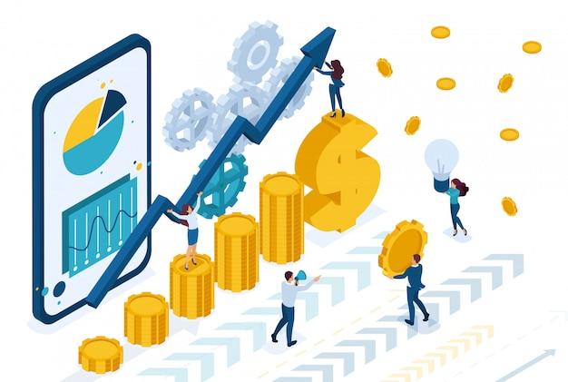Isometrisch beheer van online beleggen, beleggers analyseren de markt.