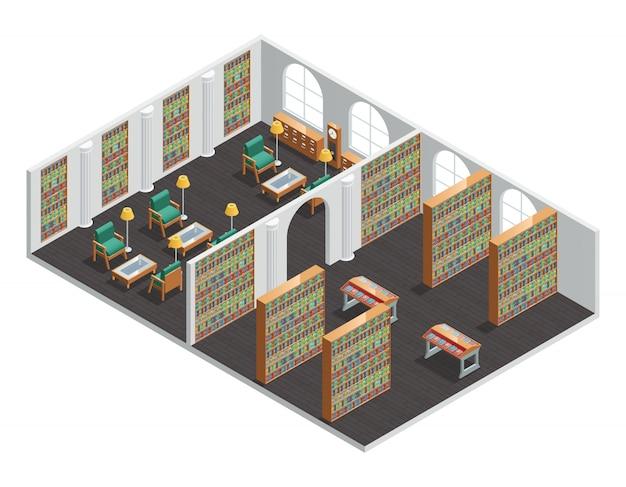 Isometrisch binnenland voor lege boekhandel en bibliotheekruimten met boekenplanken en leunstoelen vectorillus