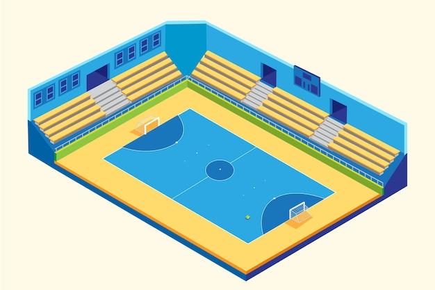 Isometrisch blauw en geel zaalvoetbalveld