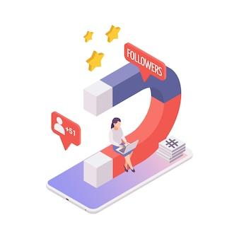 Isometrisch bloggen concept met magneet voor het aantrekken van volgers 3d illustratie