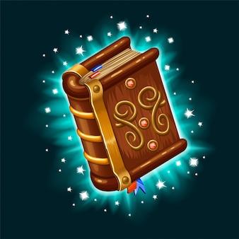 Isometrisch boek van magische spreuken en hekserij.