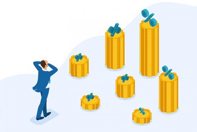 Isometrisch bright site concept bouw een carrière, zakenman beklimt de grote gouden berg, slagen. concept voor webdesign