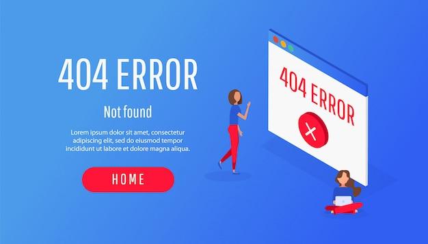 Isometrisch concept 404 pagina of bestandsfoutpictogram niet gevonden.