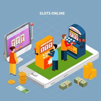 Isometrisch concept met smartphone en mensen die de online 3d vectorillustratie van spelmachines spelen