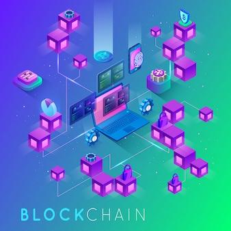 Isometrisch concept mijnbouw bitcoin die laptop met behulp van