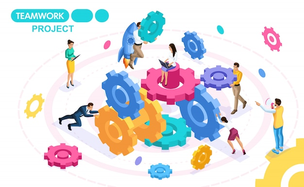 Isometrisch concept ontwikkelen en creëren van een project van teamwork, zakelijke ideeën, brainstormen. mensen in beweging. concepten voor webbanners en drukwerk