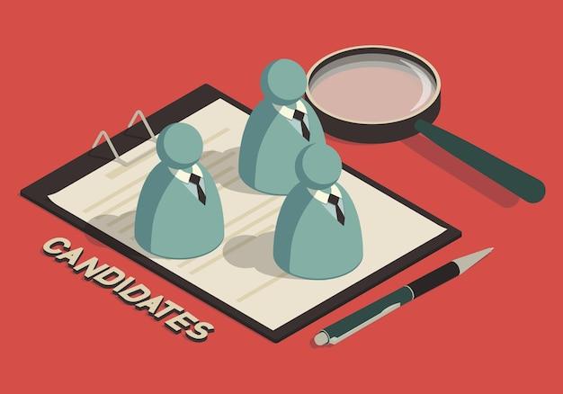 Isometrisch concept rond het thema van kandidaten