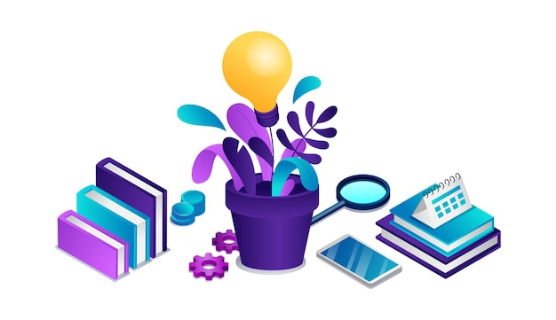 Isometrisch concept van bedrijfsonderwijs en investeringsideeën
