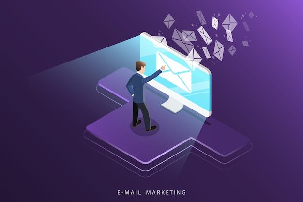Isometrisch concept van e-mailmarketing, reclamecampagne, digitale promotie.