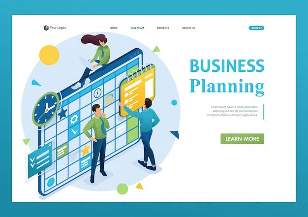 Isometrisch concept van het team dat werkt aan het businessplan, werknemers vullen de kalendervelden in. 3d isometrisch. landingspagina concepten en webdesign