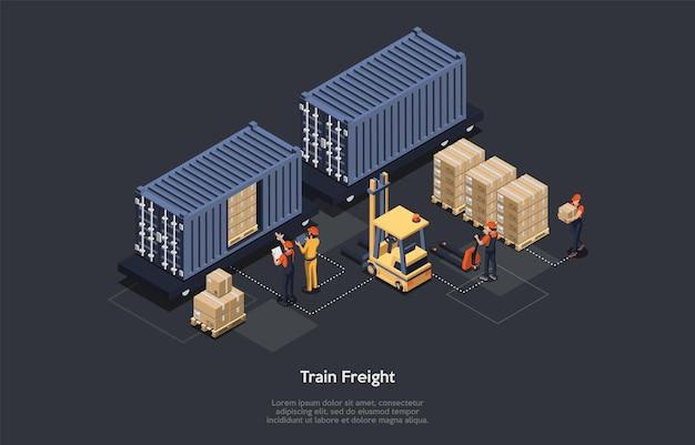 Isometrisch concept van magazijn en treinvracht