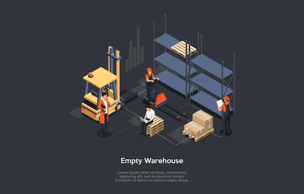 Isometrisch concept van magazijn