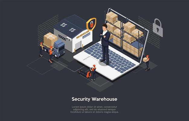 Isometrisch concept van magazijnbeveiliging, veilige logistieke bezorgservice en personeel.
