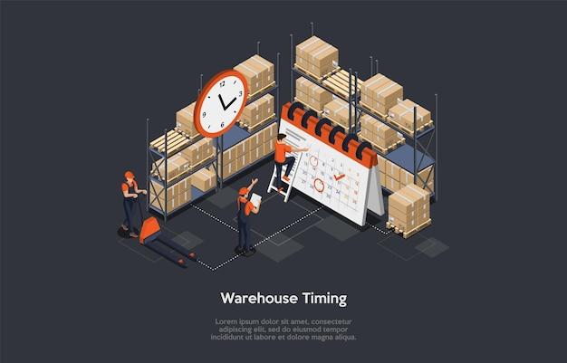 Isometrisch concept van magazijntiming