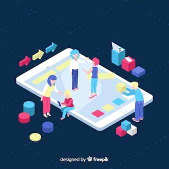Isometrisch concept van mensen die werken met technologie
