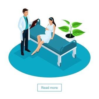 Isometrisch concept van onderzoek van een zwangere vrouw. de arts onderzoekt de patiënt in een privékliniek