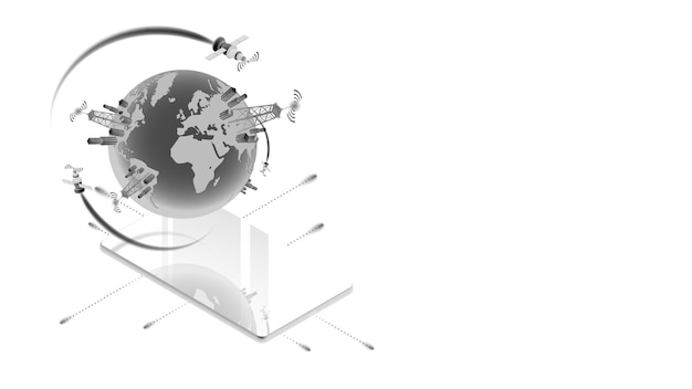 Isometrisch concept van snelle satellietcommunicatie 5g of wifi met smartphone en kopieerruimte geïsoleerd op wit. 3d planeet aarde met celtorens boven het telefoonscherm. vector illustratie.