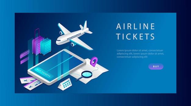 Isometrisch concept van vliegtickets voor zaken en reizen. banner sjabloon