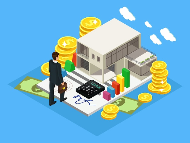 Isometrisch concept voor financiën en investeringen