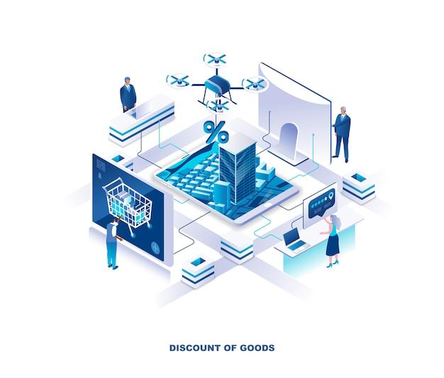 Isometrisch concept voor internetwinkel kortingen of verkoop