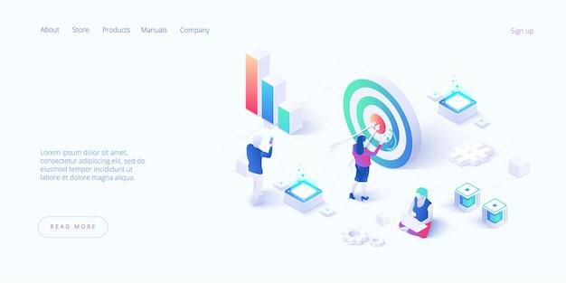 Isometrisch concept, wifi-verbonden mensen, barpresentatie. beroepsplan, werkplek voor teamsamenwerking, bestemmingspagina