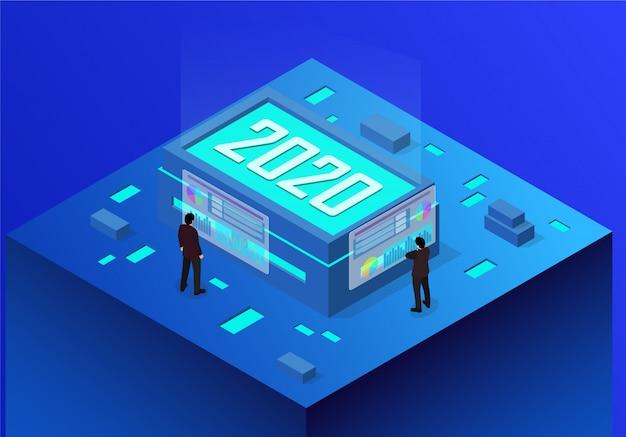 Isometrisch concept zakelijk nieuwjaar 2020
