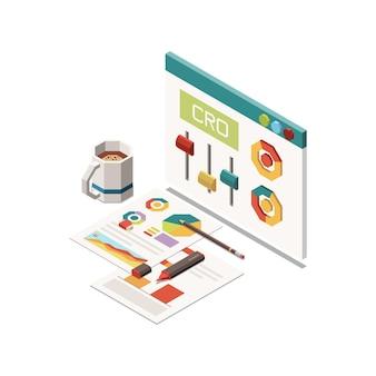 Isometrisch conceptpictogram voor marketingstrategie met 3d-bureaubladelement en kleurrijke diagrammen