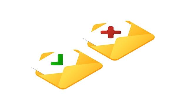 Isometrisch correct onjuist teken isometrisch goed en fout tekenpictogramreeks groen vinkje en rood kruis